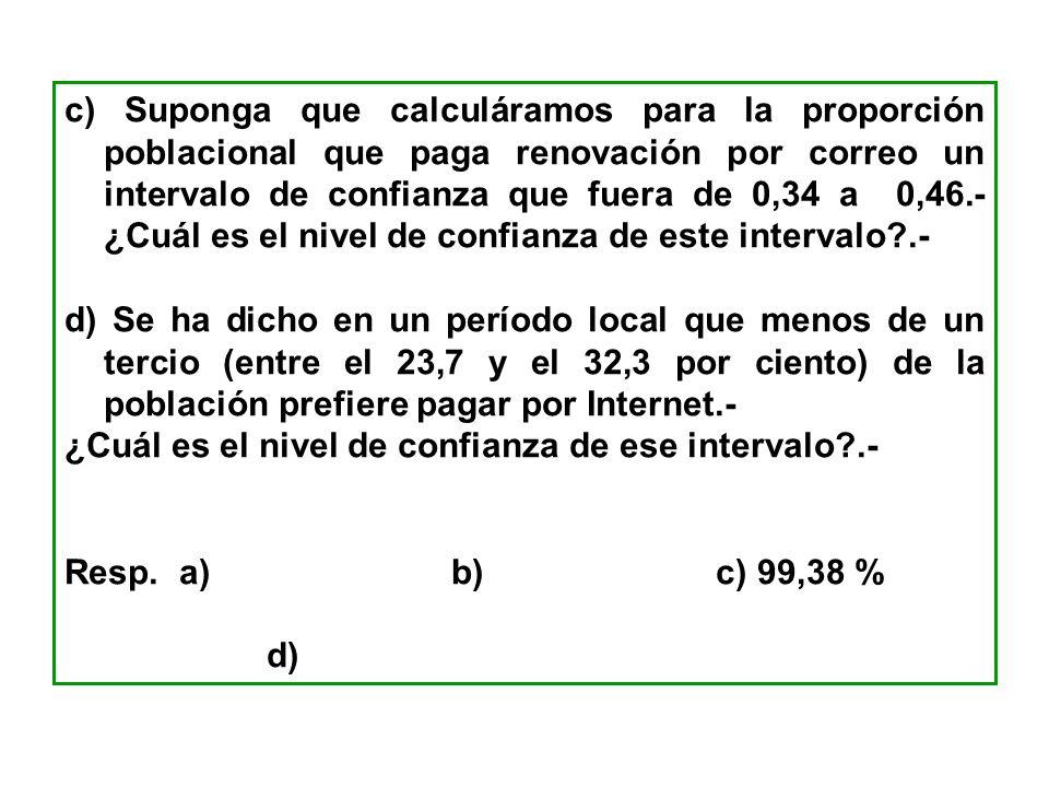 c) Suponga que calculáramos para la proporción poblacional que paga renovación por correo un intervalo de confianza que fuera de 0,34 a 0,46.- ¿Cuál es el nivel de confianza de este intervalo .-