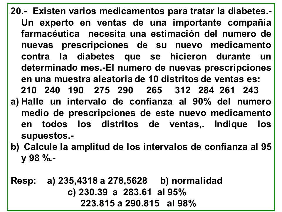 20. - Existen varios medicamentos para tratar la diabetes