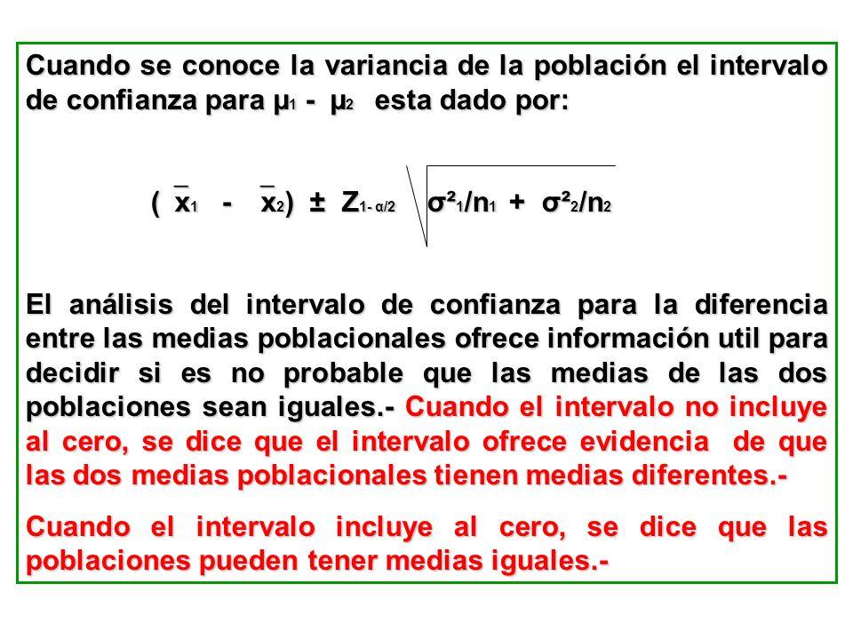 Cuando se conoce la variancia de la población el intervalo de confianza para µ1 - µ2 esta dado por: