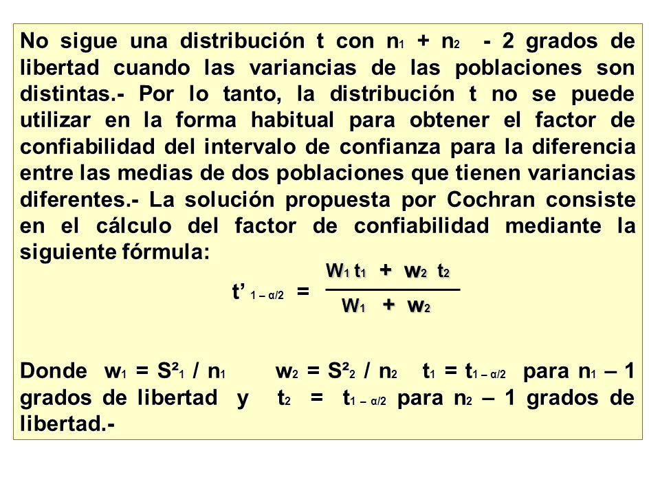 No sigue una distribución t con n1 + n2 - 2 grados de libertad cuando las variancias de las poblaciones son distintas.- Por lo tanto, la distribución t no se puede utilizar en la forma habitual para obtener el factor de confiabilidad del intervalo de confianza para la diferencia entre las medias de dos poblaciones que tienen variancias diferentes.- La solución propuesta por Cochran consiste en el cálculo del factor de confiabilidad mediante la siguiente fórmula: