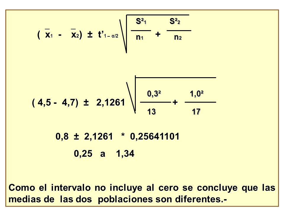 (x1 - x2) ± t'1 – α/2 + ( 4,5 - 4,7) ± 2,1261 + 0,8 ± 2,1261 * 0,25641101.