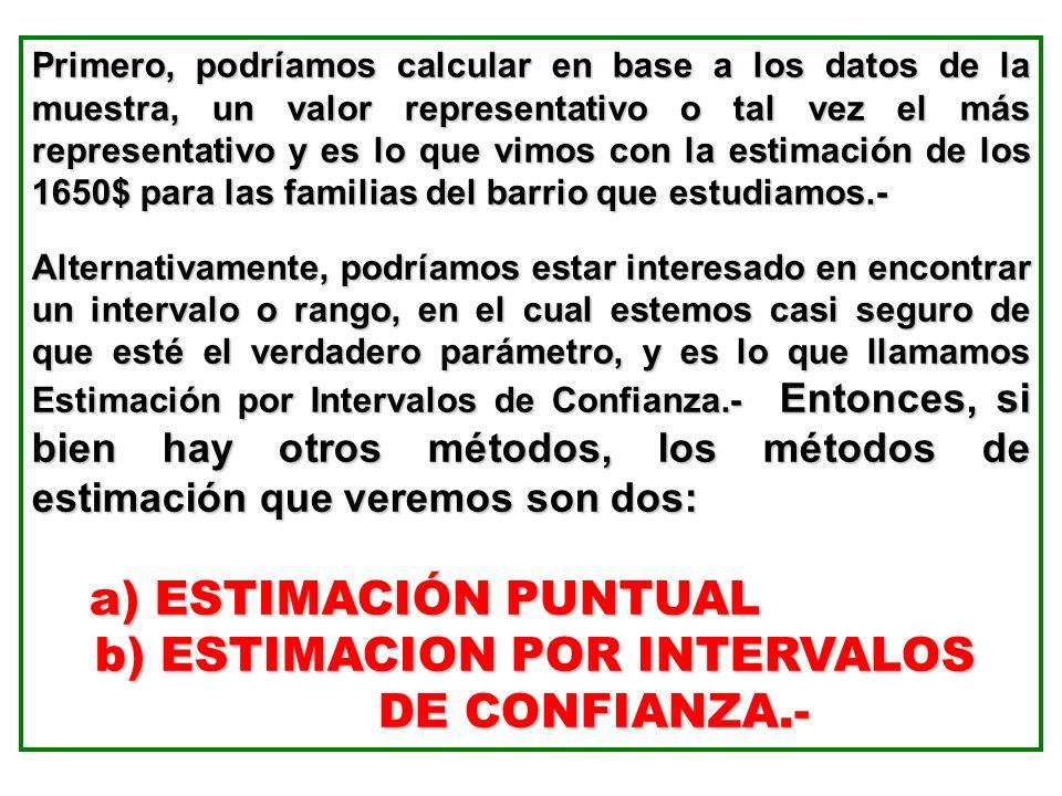 b) ESTIMACION POR INTERVALOS DE CONFIANZA.-