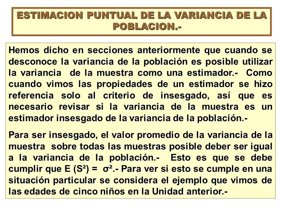 ESTIMACION PUNTUAL DE LA VARIANCIA DE LA POBLACION.-