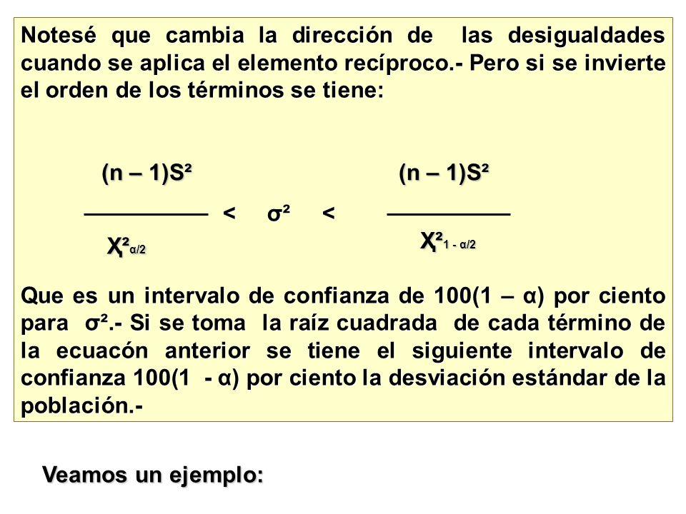 Notesé que cambia la dirección de las desigualdades cuando se aplica el elemento recíproco.- Pero si se invierte el orden de los términos se tiene: