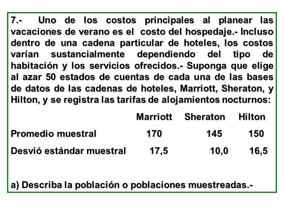7.- Uno de los costos principales al planear las vacaciones de verano es el costo del hospedaje.- Incluso dentro de una cadena particular de hoteles, los costos varían sustancialmente dependiendo del tipo de habitación y los servicios ofrecidos.- Suponga que elige al azar 50 estados de cuentas de cada una de las bases de datos de las cadenas de hoteles, Marriott, Sheraton, y Hilton, y se registra las tarifas de alojamientos nocturnos: