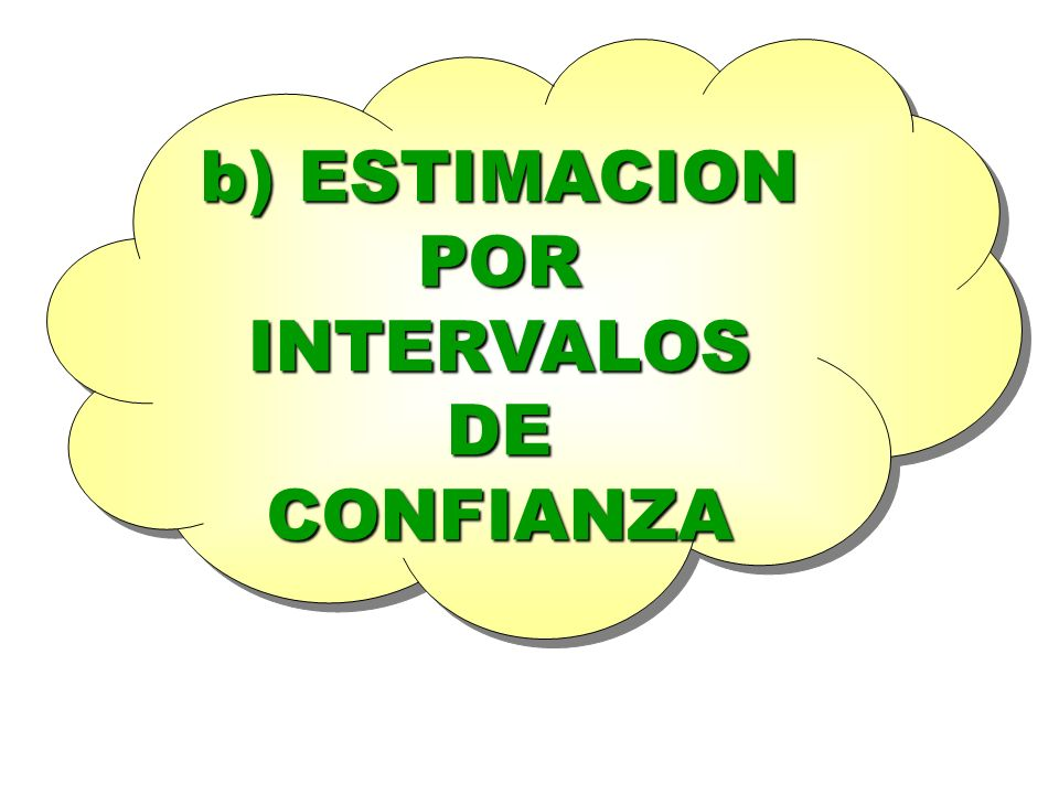 b) ESTIMACION POR INTERVALOS DE CONFIANZA