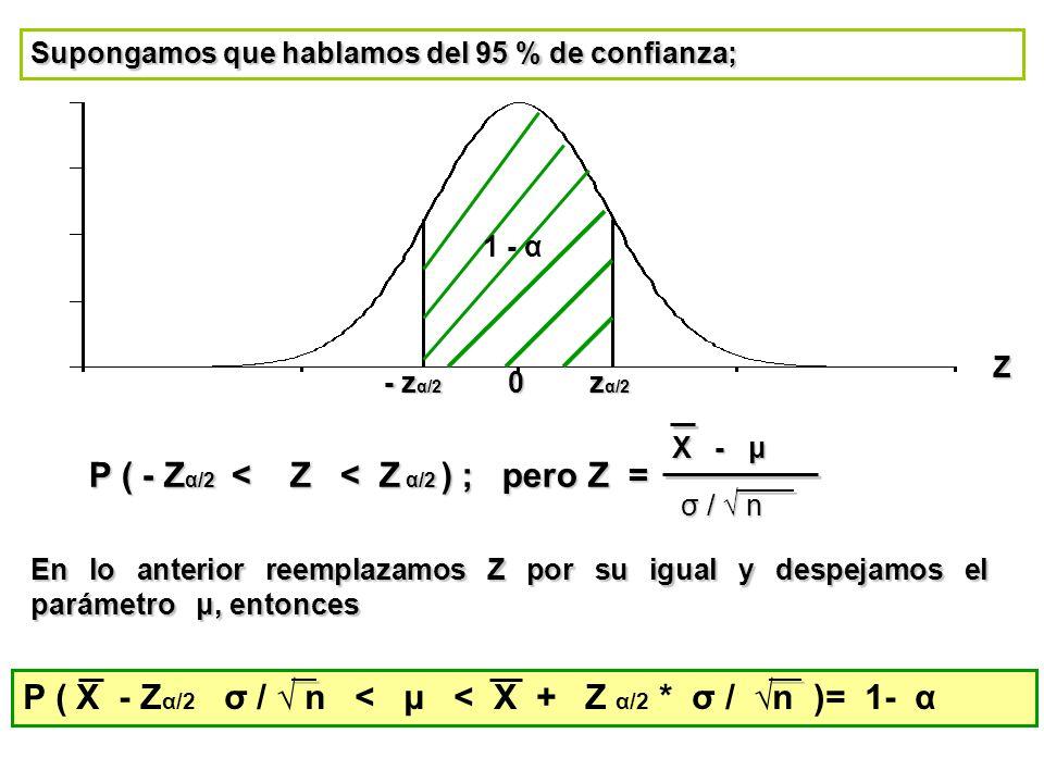 P ( - Zα/2 < Z < Z α/2 ) ; pero Z =