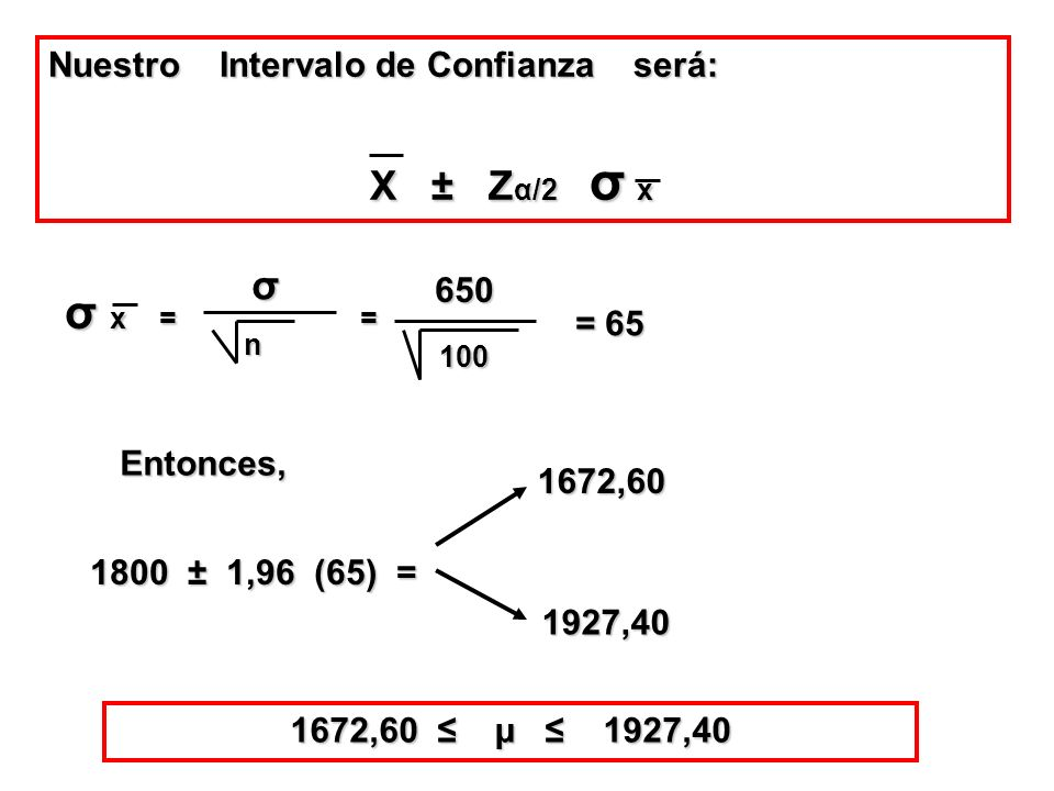 σ x = = σ Nuestro Intervalo de Confianza será: 650 = 65 Entonces,
