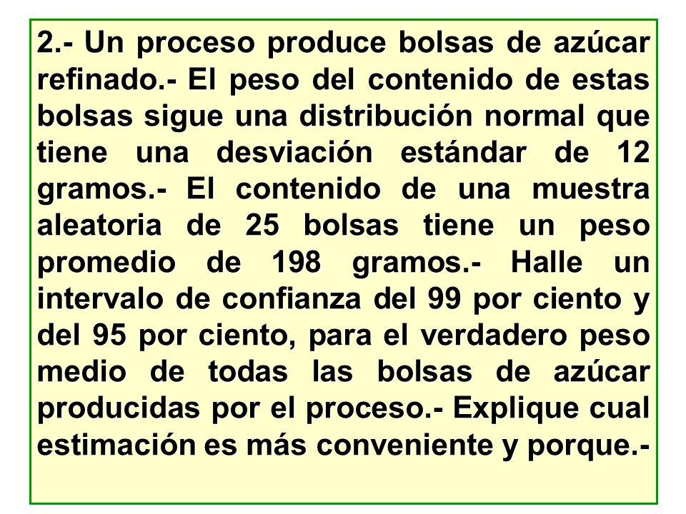 2. - Un proceso produce bolsas de azúcar refinado