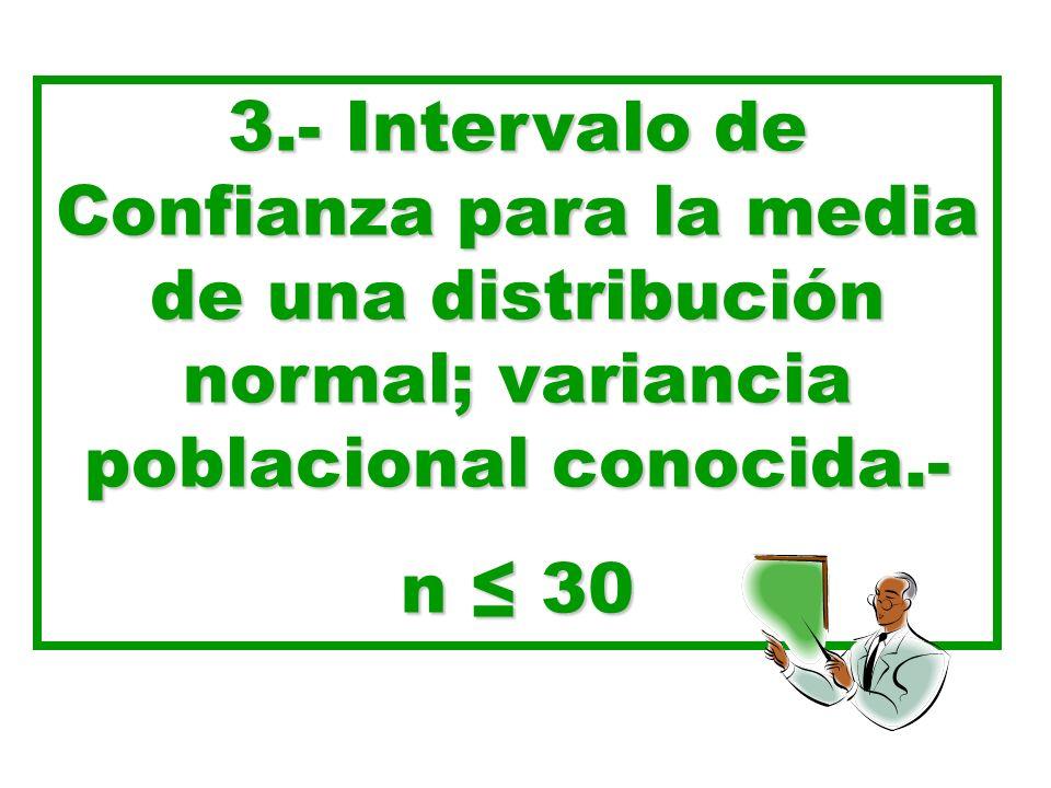 3.- Intervalo de Confianza para la media de una distribución normal; variancia poblacional conocida.-