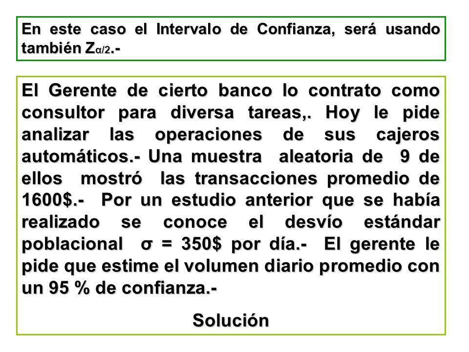 En este caso el Intervalo de Confianza, será usando también Zα/2.-