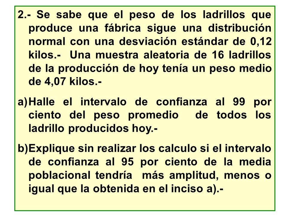 2.- Se sabe que el peso de los ladrillos que produce una fábrica sigue una distribución normal con una desviación estándar de 0,12 kilos.- Una muestra aleatoria de 16 ladrillos de la producción de hoy tenía un peso medio de 4,07 kilos.-