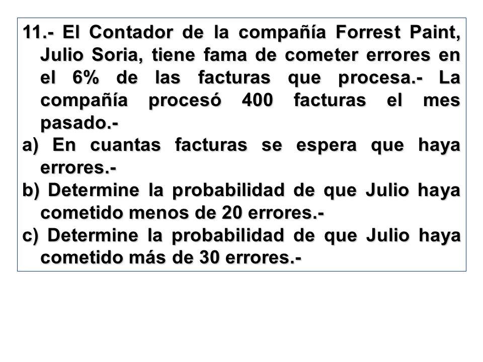 11.- El Contador de la compañía Forrest Paint, Julio Soria, tiene fama de cometer errores en el 6% de las facturas que procesa.- La compañía procesó 400 facturas el mes pasado.-