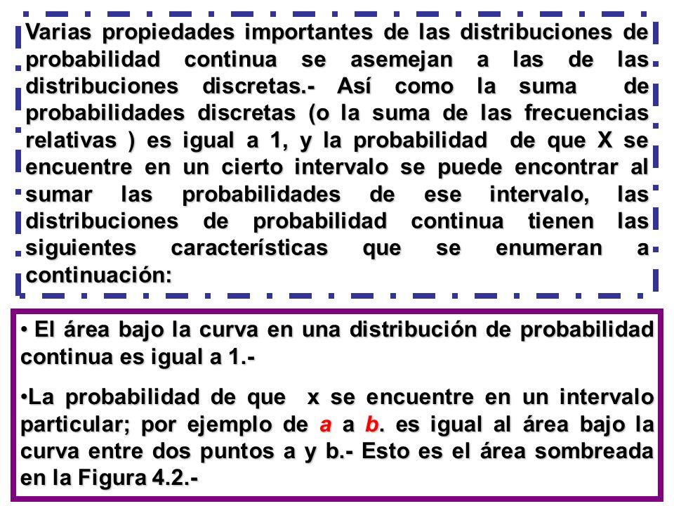 Varias propiedades importantes de las distribuciones de probabilidad continua se asemejan a las de las distribuciones discretas.- Así como la suma de probabilidades discretas (o la suma de las frecuencias relativas ) es igual a 1, y la probabilidad de que X se encuentre en un cierto intervalo se puede encontrar al sumar las probabilidades de ese intervalo, las distribuciones de probabilidad continua tienen las siguientes características que se enumeran a continuación: