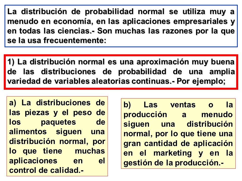 La distribución de probabilidad normal se utiliza muy a menudo en economía, en las aplicaciones empresariales y en todas las ciencias.- Son muchas las razones por la que se la usa frecuentemente: