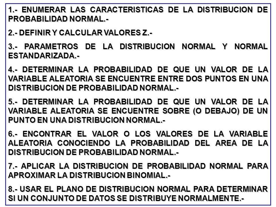 1.- ENUMERAR LAS CARACTERISTICAS DE LA DISTRIBUCION DE PROBABILIDAD NORMAL.-