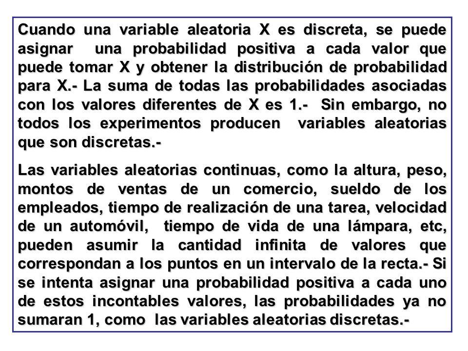 Cuando una variable aleatoria X es discreta, se puede asignar una probabilidad positiva a cada valor que puede tomar X y obtener la distribución de probabilidad para X.- La suma de todas las probabilidades asociadas con los valores diferentes de X es 1.- Sin embargo, no todos los experimentos producen variables aleatorias que son discretas.-