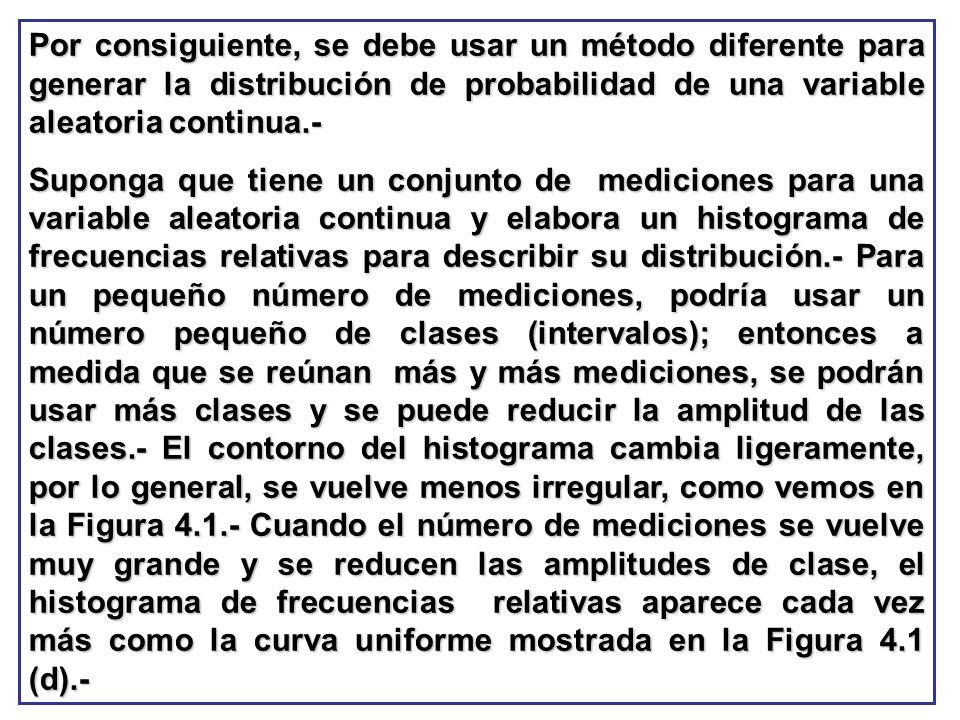 Por consiguiente, se debe usar un método diferente para generar la distribución de probabilidad de una variable aleatoria continua.-