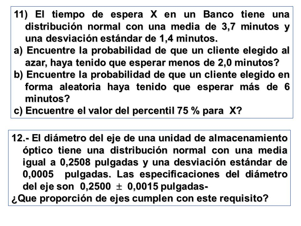11) El tiempo de espera X en un Banco tiene una distribución normal con una media de 3,7 minutos y una desviación estándar de 1,4 minutos.