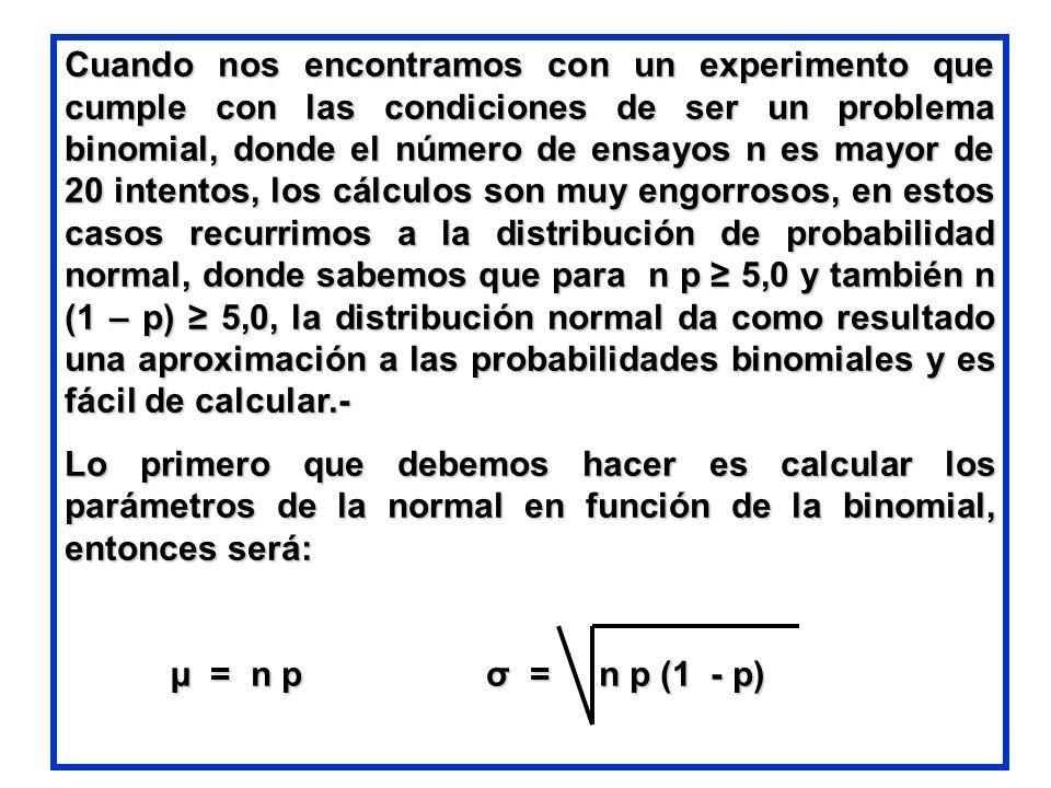 Cuando nos encontramos con un experimento que cumple con las condiciones de ser un problema binomial, donde el número de ensayos n es mayor de 20 intentos, los cálculos son muy engorrosos, en estos casos recurrimos a la distribución de probabilidad normal, donde sabemos que para n p ≥ 5,0 y también n (1 – p) ≥ 5,0, la distribución normal da como resultado una aproximación a las probabilidades binomiales y es fácil de calcular.-