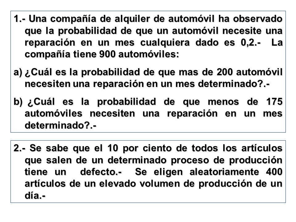 1.- Una compañía de alquiler de automóvil ha observado que la probabilidad de que un automóvil necesite una reparación en un mes cualquiera dado es 0,2.- La compañía tiene 900 automóviles: