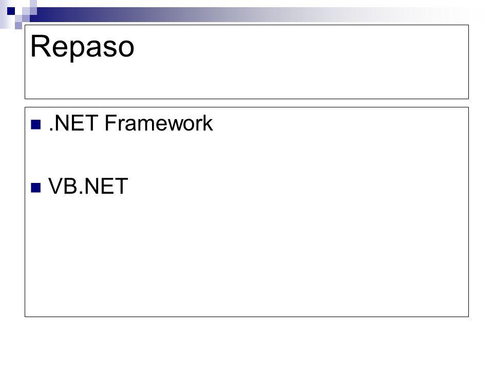 Repaso .NET Framework VB.NET