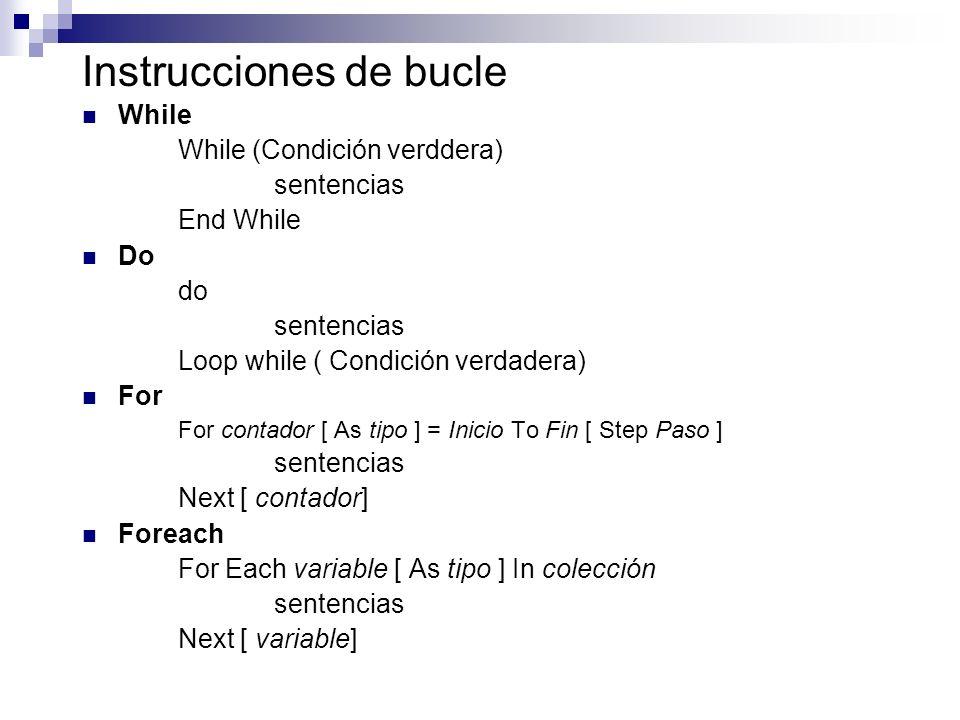 Instrucciones de bucle