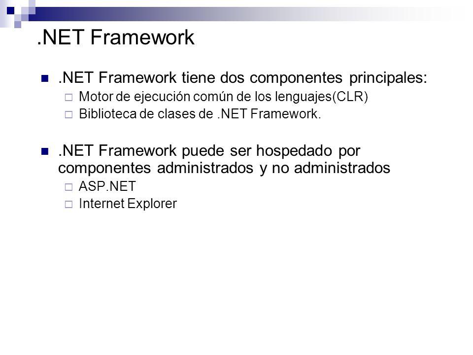 .NET Framework .NET Framework tiene dos componentes principales: