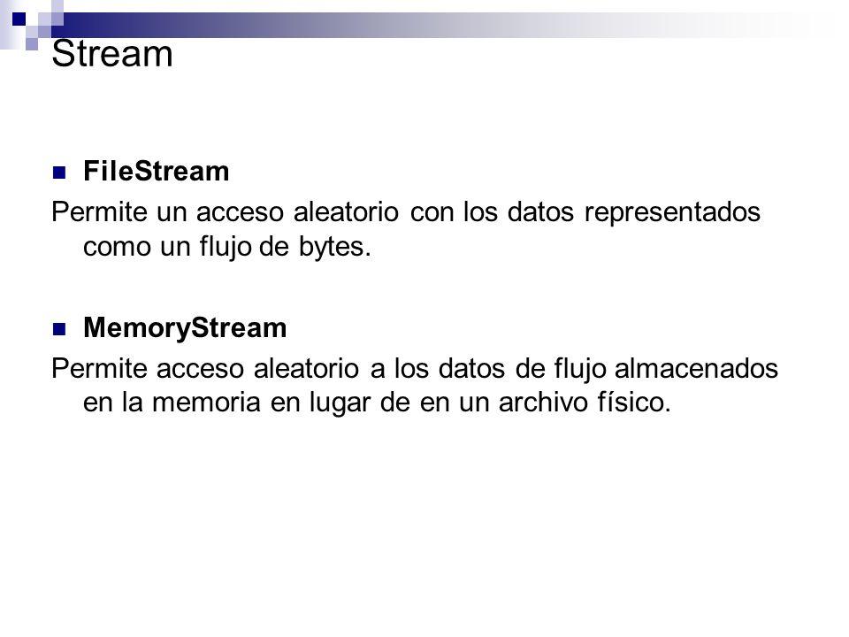 Stream FileStream. Permite un acceso aleatorio con los datos representados como un flujo de bytes.