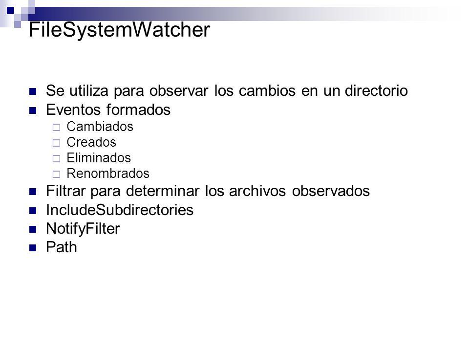 FileSystemWatcher Se utiliza para observar los cambios en un directorio. Eventos formados. Cambiados.