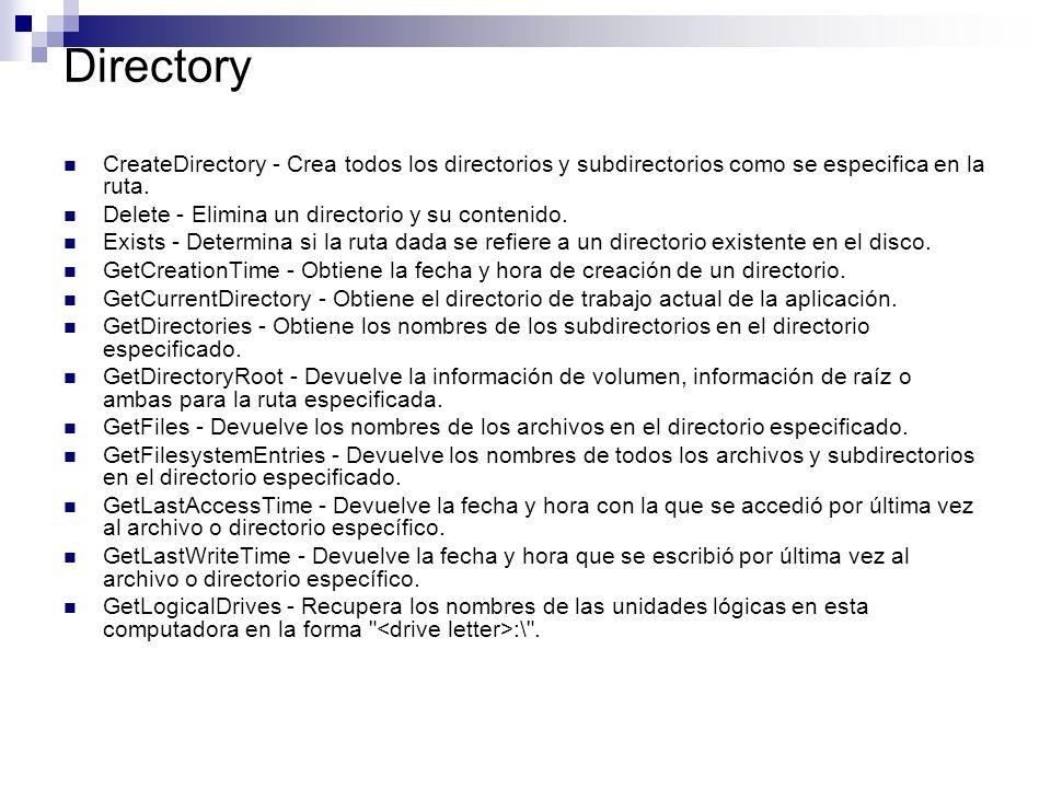 Directory CreateDirectory - Crea todos los directorios y subdirectorios como se especifica en la ruta.
