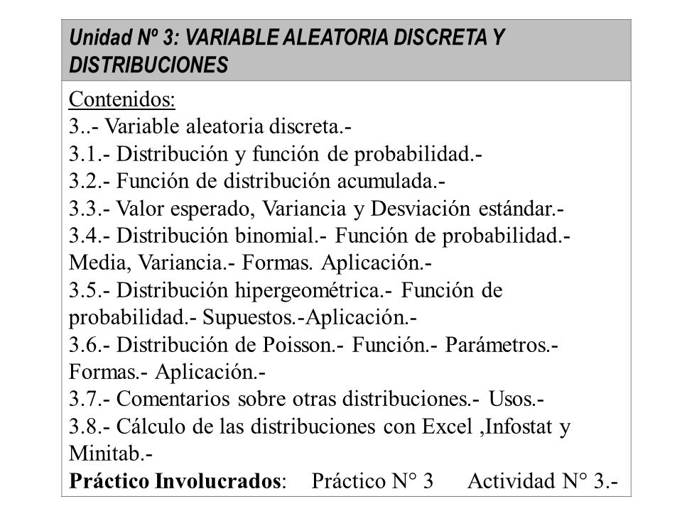Unidad Nº 3: VARIABLE ALEATORIA DISCRETA Y DISTRIBUCIONES