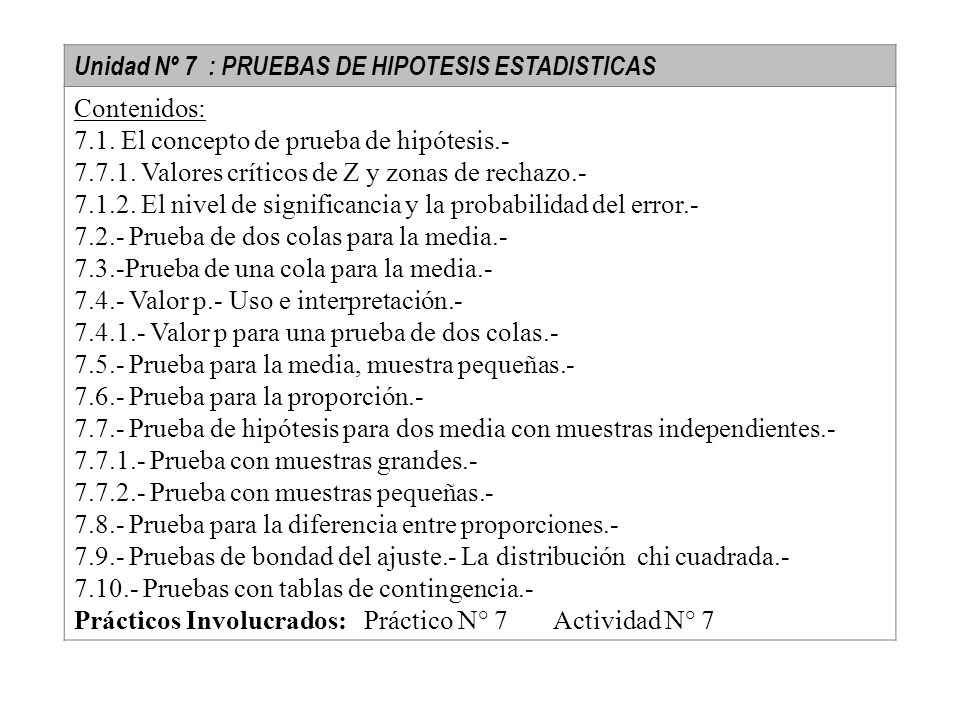 Unidad Nº 7 : PRUEBAS DE HIPOTESIS ESTADISTICAS