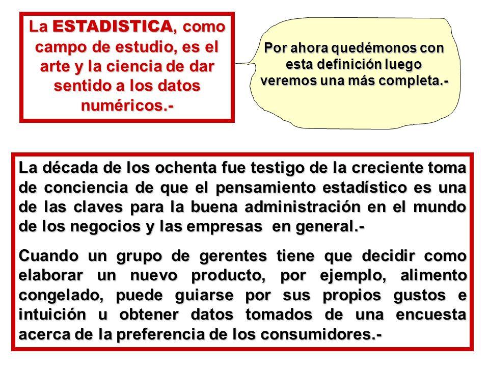 La ESTADISTICA, como campo de estudio, es el arte y la ciencia de dar sentido a los datos numéricos.-