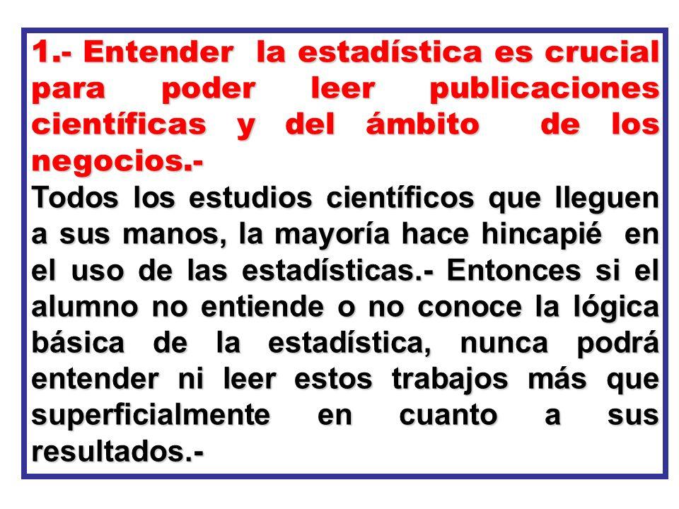 1.- Entender la estadística es crucial para poder leer publicaciones científicas y del ámbito de los negocios.-