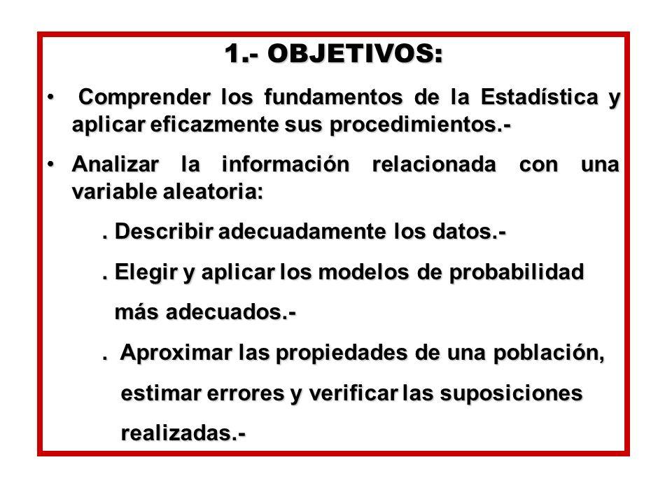 1.- OBJETIVOS:Comprender los fundamentos de la Estadística y aplicar eficazmente sus procedimientos.-