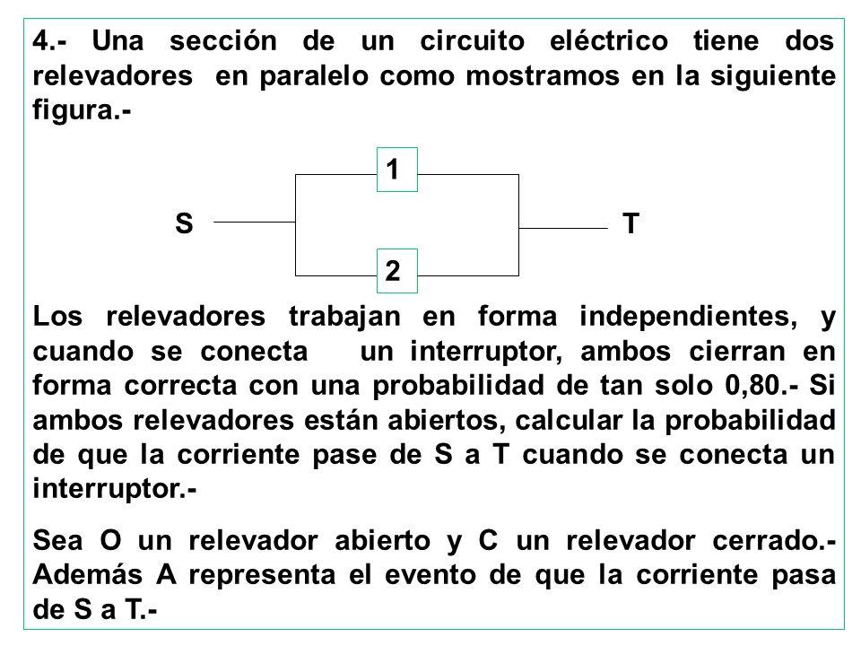 4.- Una sección de un circuito eléctrico tiene dos relevadores en paralelo como mostramos en la siguiente figura.-