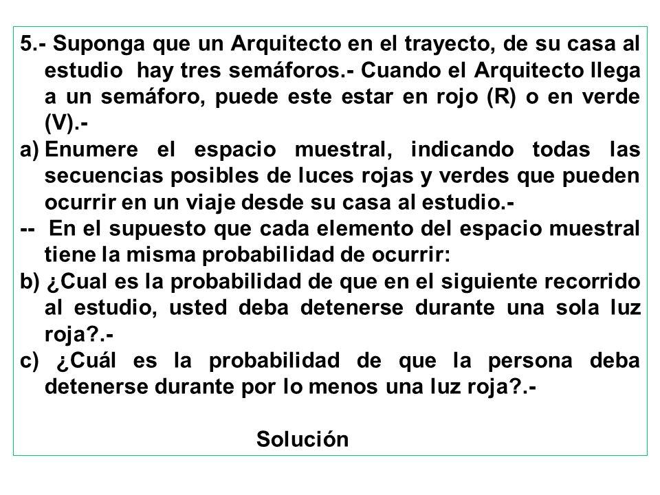 5.- Suponga que un Arquitecto en el trayecto, de su casa al estudio hay tres semáforos.- Cuando el Arquitecto llega a un semáforo, puede este estar en rojo (R) o en verde (V).-