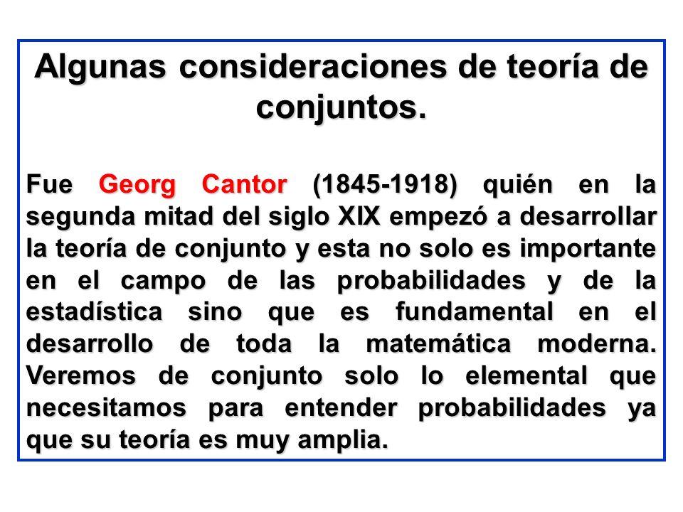 Algunas consideraciones de teoría de conjuntos.