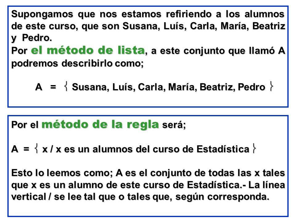 Supongamos que nos estamos refiriendo a los alumnos de este curso, que son Susana, Luís, Carla, María, Beatriz y Pedro.