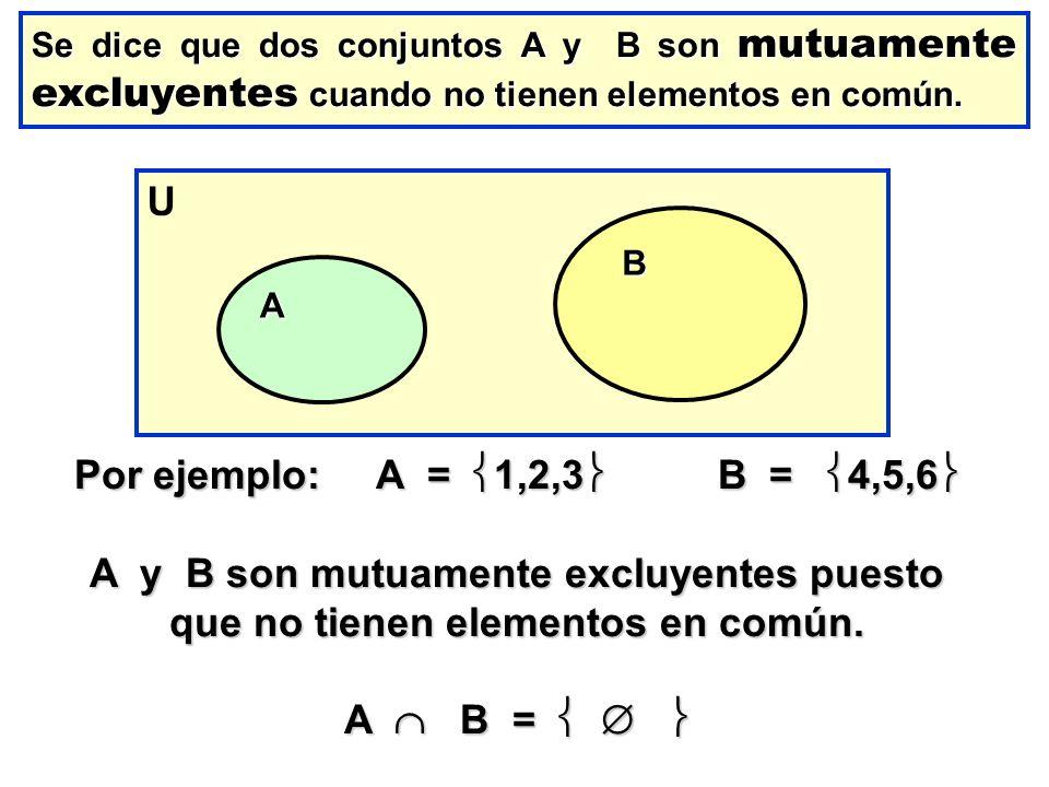 U Por ejemplo: A = 1,2,3 B = 4,5,6