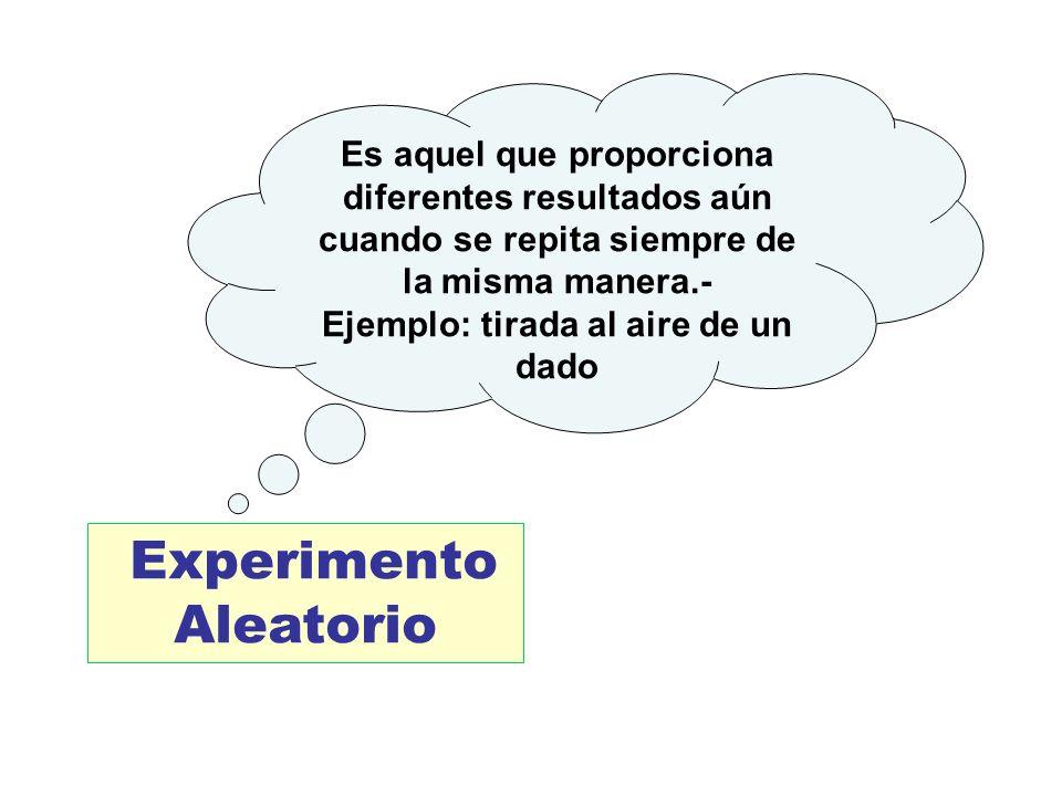 Ejemplo: tirada al aire de un dado Experimento Aleatorio