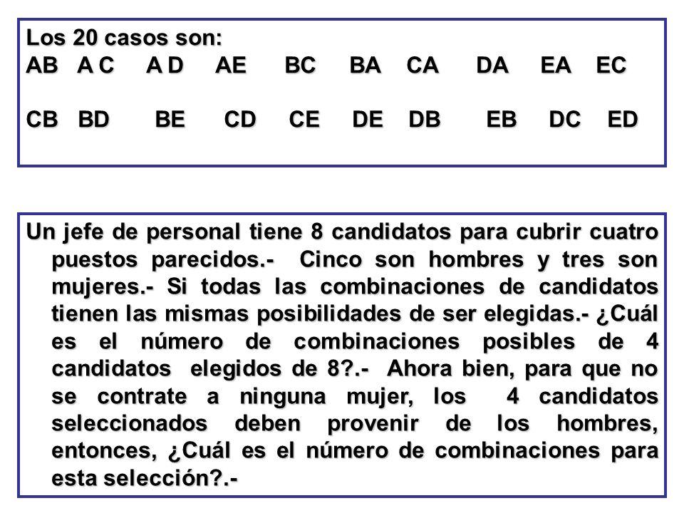 Los 20 casos son:AB A C A D AE BC BA CA DA EA EC.
