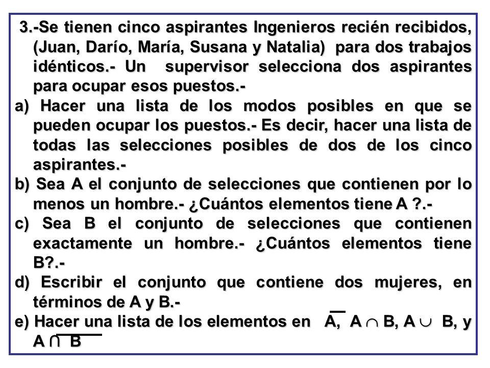 3.-Se tienen cinco aspirantes Ingenieros recién recibidos, (Juan, Darío, María, Susana y Natalia) para dos trabajos idénticos.- Un supervisor selecciona dos aspirantes para ocupar esos puestos.-