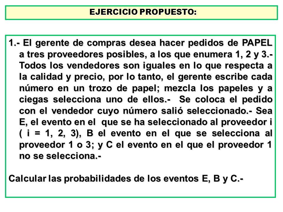 Calcular las probabilidades de los eventos E, B y C.-