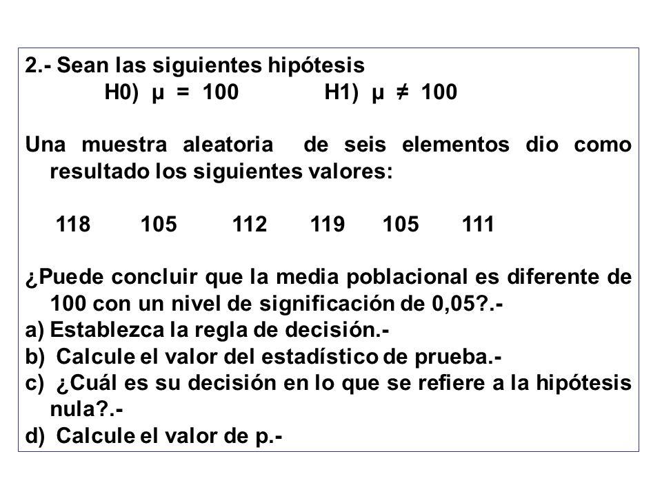 2.- Sean las siguientes hipótesis