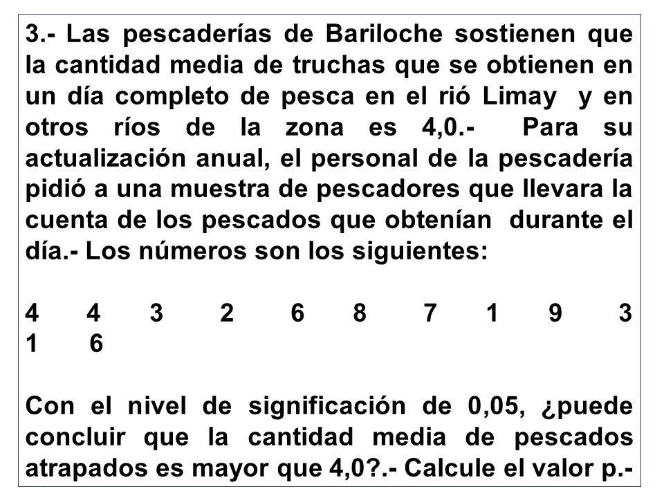 3.- Las pescaderías de Bariloche sostienen que la cantidad media de truchas que se obtienen en un día completo de pesca en el rió Limay y en otros ríos de la zona es 4,0.- Para su actualización anual, el personal de la pescadería pidió a una muestra de pescadores que llevara la cuenta de los pescados que obtenían durante el día.- Los números son los siguientes: