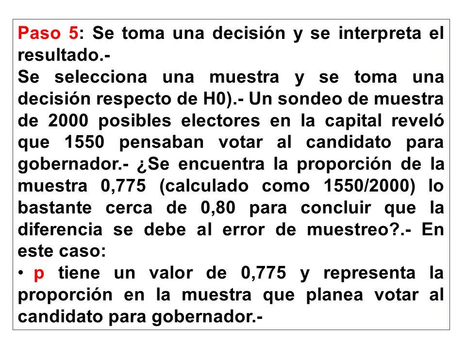 Paso 5: Se toma una decisión y se interpreta el resultado.-