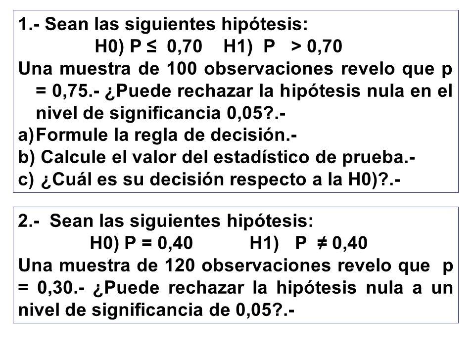 1.- Sean las siguientes hipótesis: