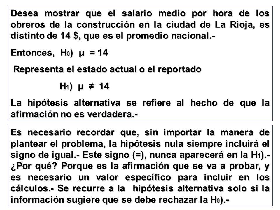 Desea mostrar que el salario medio por hora de los obreros de la construcción en la ciudad de La Rioja, es distinto de 14 $, que es el promedio nacional.-